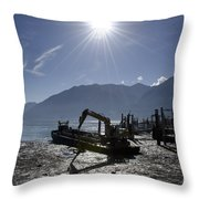 Excavator Clean A Harbor Throw Pillow
