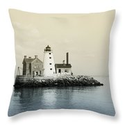 Execution Rocks Lighthouse New York  Throw Pillow by Bill Cannon