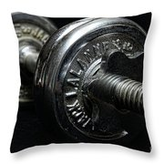 Exercise  Vintage Chrome Weights Throw Pillow