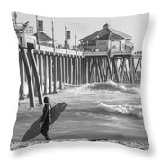 Existential Surfing At Huntington Beach Throw Pillow