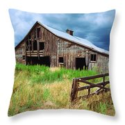 Exit 166 Barn Throw Pillow
