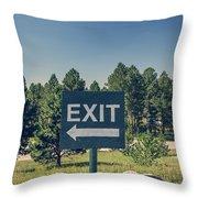 Exit Sign Throw Pillow