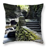 Exiting Watkins Glen Gorge Throw Pillow by Frozen in Time Fine Art Photography