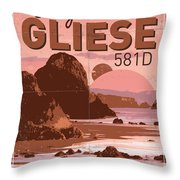Exoplanet 01 Travel Poster Gliese 581 Throw Pillow by Chungkong Art