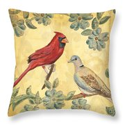 Exotic Bird Floral And Vine 2 Throw Pillow by Debbie DeWitt