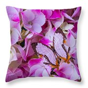 Exotic Butterfly On Hydrangea Throw Pillow