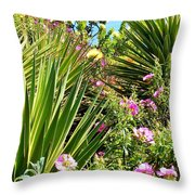 Exotic Hillside Garden Throw Pillow