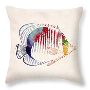 Exotic Tropical Fish Drawing Throw Pillow