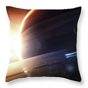Expedition To A Saturn-like Planet Throw Pillow