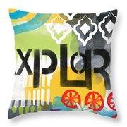 Explore- Contemporary Abstract Art Throw Pillow
