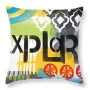 Explore- Contemporary Abstract Art Throw Pillow by Linda Woods
