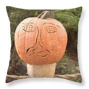 Expressive Pumpkin Throw Pillow