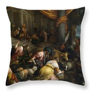 Expulsion Of The Merchants From The Temple Throw Pillow