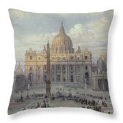 Exterior Of St Peters In Rome From The Piazza Throw Pillow