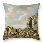Exterior Of The Ruined Roman Theatre Throw Pillow