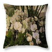 Exuberant Orchid Display Throw Pillow
