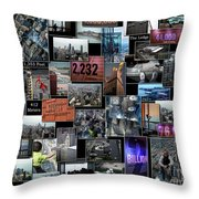 Eyes Down From The 103rd Floor Collage Throw Pillow