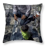Eyes Down From The 103rd Floor Little Dude With No Fear Throw Pillow