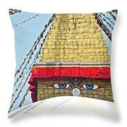 Eyes Of Buudha Boudhanath Stupa In Kathmandu-nepal  Throw Pillow