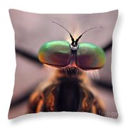Eyes Of The Robber Fly Throw Pillow