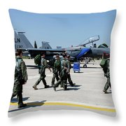 F-15 Pilots Of The 48th Fighter Wing Throw Pillow