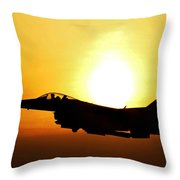 F-16 Fighting Falcon Flying Over Korea Throw Pillow