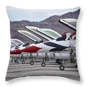 F-16c Thunderbirds On The Ramp Throw Pillow by Terry Moore