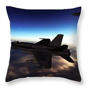 F-18 Super Hornets On Patrol Throw Pillow