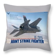Lockheed Martin F-35 Joint Strike Fighter Lightening II With Text Throw Pillow
