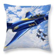 F-4 Phantoms In Blue Throw Pillow