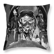 F-84 Thunderjet Pilot Throw Pillow