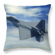 F22  Raptor Climbing In The Clouds Throw Pillow