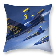 Fa-18 Hornets Of The Blue Angels Fly Throw Pillow