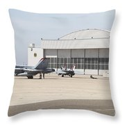 Fa-18 Hornets On The Flight Line Throw Pillow