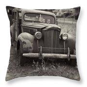 Fabulous Vintage Car Black And White Throw Pillow