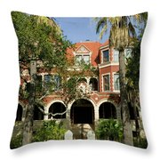 Facade Of A Museum, Moody Mansion Throw Pillow
