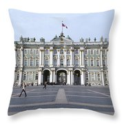 Facade Of A Museum, State Hermitage Throw Pillow