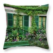 Facade Of Claude Monets House, Giverny Throw Pillow
