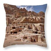 facade street in Nabataean ancient town Petra Throw Pillow