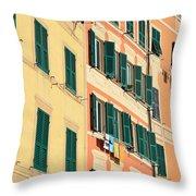 facades in Camogli Throw Pillow