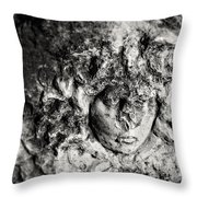 Face Carved In Stone Throw Pillow