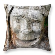 Face In A Tree Throw Pillow
