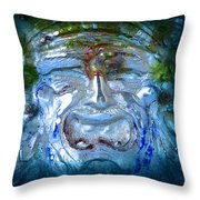 Face In Glass Throw Pillow
