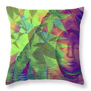 Face In The Rock With Maple Leaves Throw Pillow