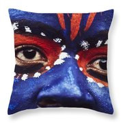 Face Of Carnival Throw Pillow by Ian Cumming