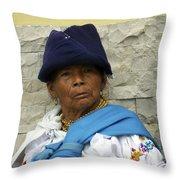 Face Of Ecuador Woman At Cotacachi Throw Pillow