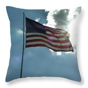 Face Of Jesus In Cloud W Flag 9 11 Remembered  Throw Pillow