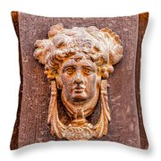 Face On The Door - Square Crop Throw Pillow