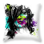 Face Paint 3 Throw Pillow by Jeremy Scott