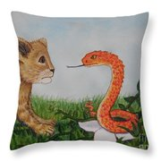 Face To Face Were A Lion And Snake Throw Pillow